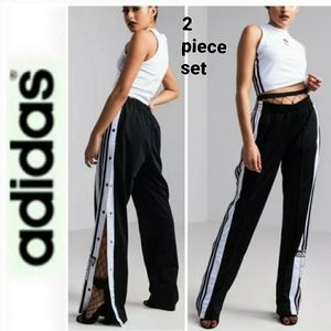 Adidas wide legs trac pants/cropped top set